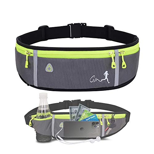 Running Belt,Water Resistant Runners Belt Fanny Pack for Women Men, Waist Bag for Hiking Fitness Travel - Adjustable Running Pouch Belt Fits Phones iPhone 11 pro max Xs x 6 7 8 Plus Samsung S10…(gray)