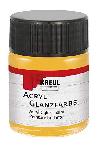Preisvergleich Produktbild Kreul 79515 - Acryl Glanzfarbe,  50 ml Glas in gold,  glänzend-glatte Acrylfarbe zum Anmalen und Basteln,  auf Wasserbasis,  speichelecht,  schnelltrocknend und deckend