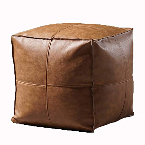 Storage Leather Stool, Tatami Seat, Nordic Minimalist Living Room Leather Art Sofa Low Stool, Modern Creative Square Stool, Household Shoe Changing Stool,brown