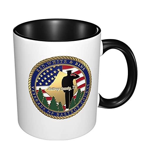 Taza de café de color doble personalizada de los veteranos del condado de Bastrop blanco y azul rojo