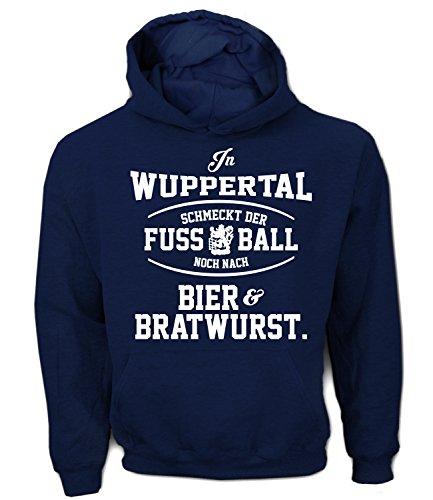 Artdiktat Herren Hoodie - In Wuppertal schmeckt der Fußball noch nach Bier und Bratwurst Größe M, Navy