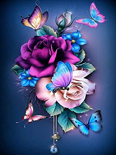 WFHYW 5D DIY Rose Butterfly Diamond Painting Kits for Adults, Full Diamond Round Rhinestone Canvas Gem Cross Stitch Crafts, Home Wall Decor and Gifts(Size: 11.8×15.7 inches)