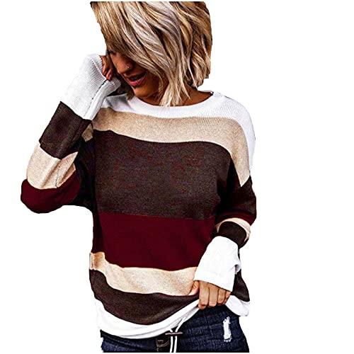 SHOBDW Barato Mujer Sudadera Camiseta Largos 2021 Invierno Elegante Empalme Moda Mujer Suave Casual Jerseys Espesar Pullover Tops Talla Grande Liquidación Venta(Rojo,M)