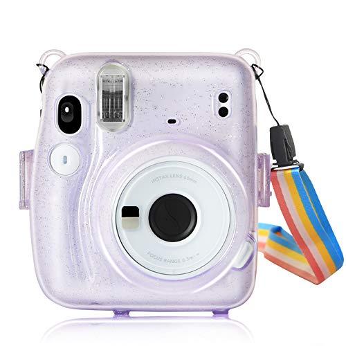 YEMXAM Bolsa para cámara instantánea Compatible con Instax Mini 11, Funda para cámara, PVC Duro Transparente, Funda Protectora para Bolsa de Viaje para cámara,anticaídas y arañazos (púrpura)