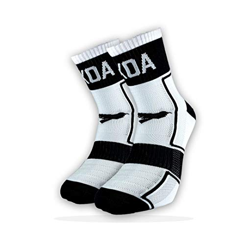 KOA ELITE Performance High visibility Cycling and Running Socks 2 PACK Light compression arch support for Men and Women All season Seat wicking Quick Dry sports sock WHITE FEARLESS