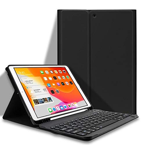 Keyboard Case For iPad 10.2 Keyboard Case with Pencil Holder For iPad 7th/8th Generation Spanish/English Keyboard-Q-Black_iPad 8th 10.2 2020