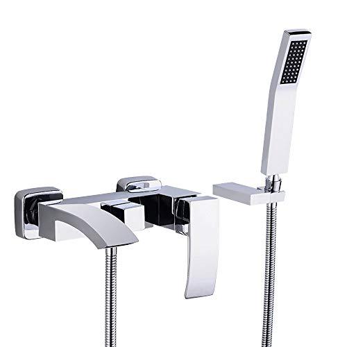 JinYuZe Modern Brass Waterfall Wall-mount Bath Tub Filler Faucet with Handheld...