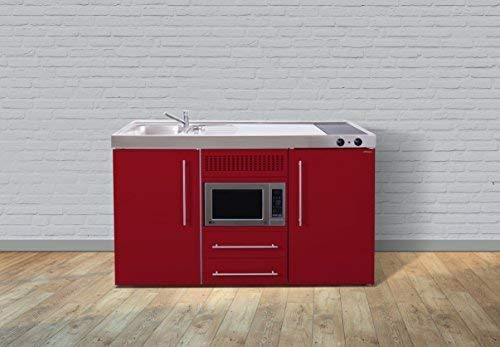 Stengel Premium Miniküche Metallküche Single Küche 150cm rot Becken links Ceran