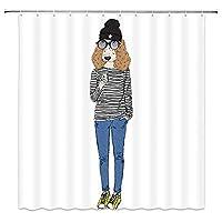 流行に敏感な女の子のファッションのようにドレスアップ素敵なペットの犬浴室の窓の装飾のための生地のホックが付いているポリエステル防水シャワー・カーテン60X72in