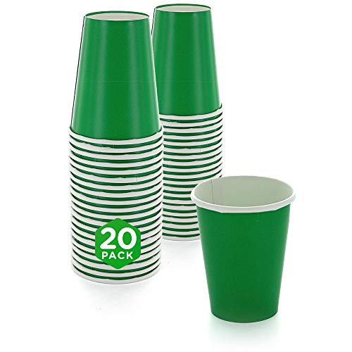 SparkSettings Disposable Paper Cups Drinking Paper Cup for Both Hot and Cold Beverages Perfect for Coffee, Tea, Water or Juice - Festive Green, Pack of 20