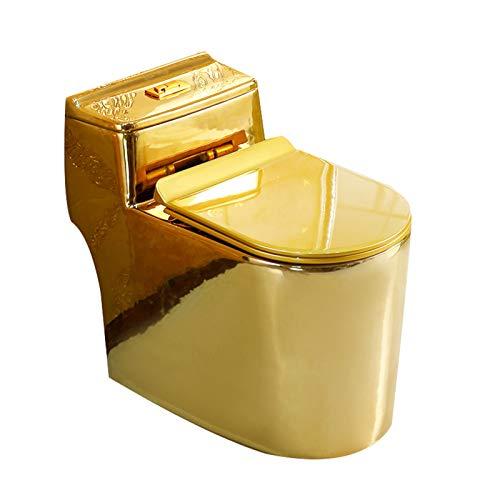 YRRA Luxuriöse Toilette, Europäischer Stil Neoklassizistische Toilette EIN Stück Universal Washout Einfach Zu Leeren Und Zu Reinigen, Für Geeignetes Familienhotelbad,Gold,37.5x68x62cm