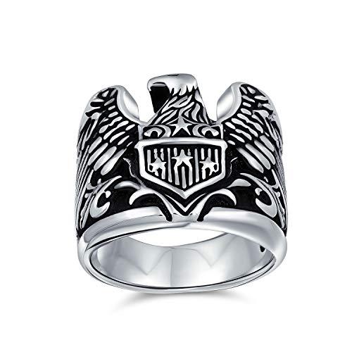 Hombres Biker gran declaración Patriotic EE.UU. flying pájaro americano símbolo calvo águila firma anillo para los hombres 925 plata de ley