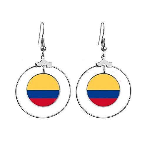 Colombia Nationale Vlag Zuid-Amerika Land Oorbellen Dangle Hoop Sieraden Drop Cirkel