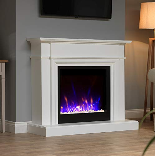 White Black Wall Surround Modern Electric Fire LED Fireplace Suite Pebbles Crystals