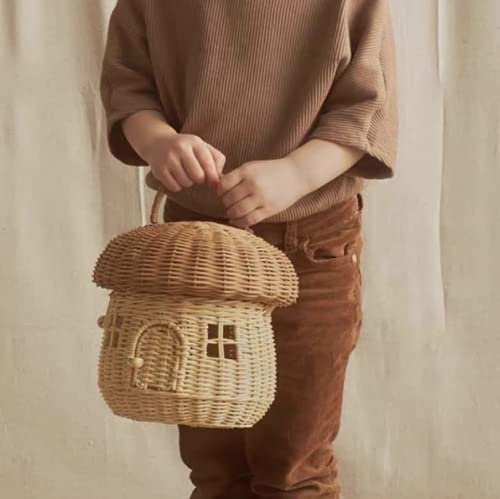 25 x 25 cm INS hecho a mano seta mini niños cesta de picnic organizador portátil decoración