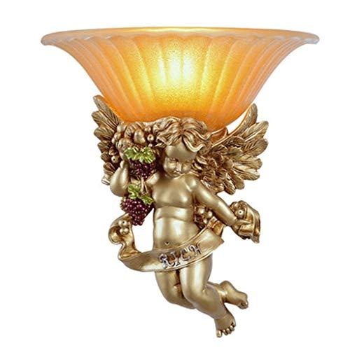 YLCJ wandlamp in Europese stijl woonkamer wandlamp nacht slaapkamer lichten gang studie creatieve bijzonderheid kinderkamer engel wandlamp (kleur: A)