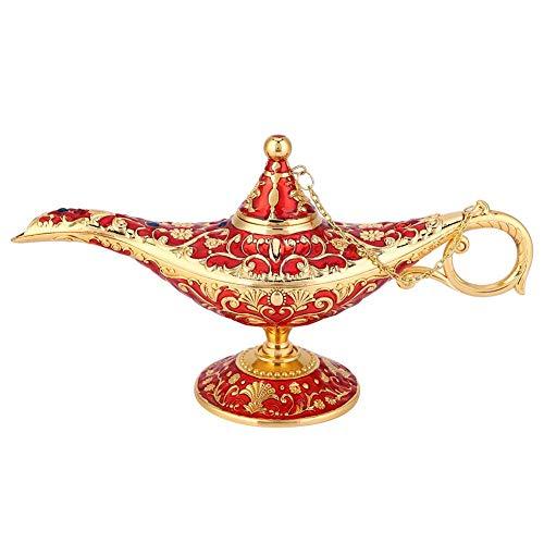 Lámpara mágica de Aladdin, Retro Metal Fairy Tale Aladdin Magic Genie Teapot Lámpara de aceite Inicio Decoración de mesa(rojo dorado)