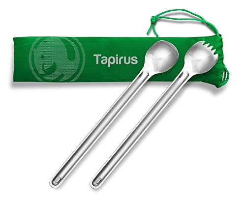 Tapirus Long Handle Spoon and Spork Set - Deep Reach Stainless Steel Cooking Eating Utensils Access Bag Bottoms, Keep Hands Clean and Away from Heat + Carry Bag Ideal for Hiking, Camping, Backpacking