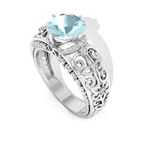 Anillo cielo de topacio azul de 1,4 ct con forma de cojín, 0,33 ct GI certificado de diamante IJ-SI, anillo de compromiso, solitario, 14K Oro amarillo, Size:EU 60