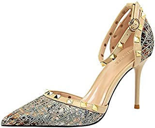 iMaySon Europe and America Sexy Women Stiletto High Heel Shallow Mouth Pointed Hollow in The Middle Metal Rivet Ankle Strap Sandals Sandals