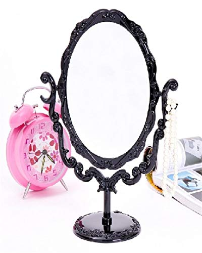 WBFN Makeup Mirrors, Black Vintage Royal Makeup Mirror Desktop Rotatable Gothic Mirror with Butterfly Rose and Vines Decoration Cosmetic Tool (Color : 1)