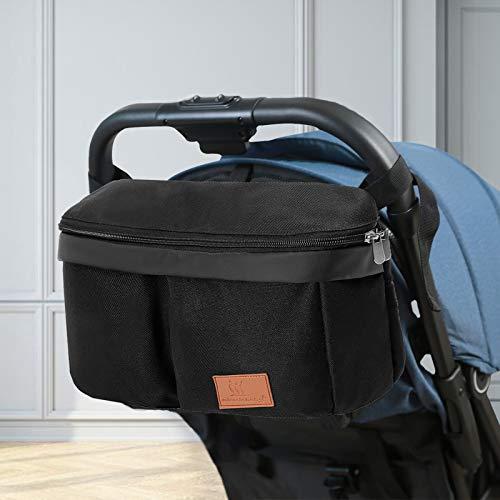 Miracle Baby Bolsa Organizadora de Cochecitos para Mamá,Bolsa Carrito Bebe Súper Liviana, Multifuncional de Gran Capacidad para Almacenar-32 * 20 * 19cm(Negro puro)
