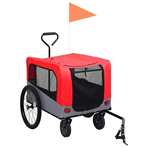 pedkit Remolque Carro de Bicicleta Mascotas 2 en 1 Remolque de Bicicleta para Mascotas Rojo y Gris 14,05 kg