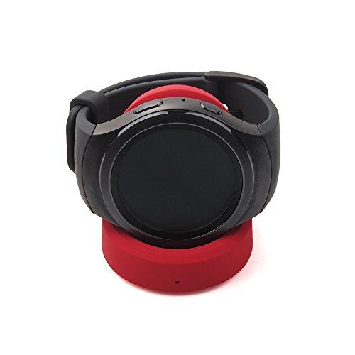YockTec Samsung Gear Sport R600 Cargador Soporte de Carga Inalámbrico Soporte de Repuesto Cuna de Carga para Samsung Gear Sport SM-R600 Smartwatch (Rojo)