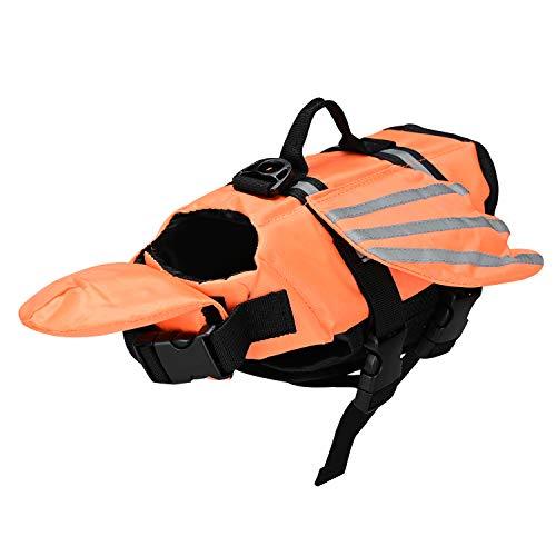 Podazz Chaleco Salvavidas para Perros Chaleco de Seguridad Reflectante Salvavidas para Mascotas Ajustable con asa Abrigo de flotación de Barbilla para Nadar, Surfear (Small) (Naranja, Small)