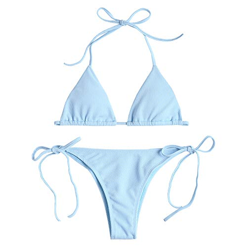 ZAFUL Damen Einfarbiger Gerippter Halter Bikini Gepolsterter Badeanzug Beachwear(Hellblau S)
