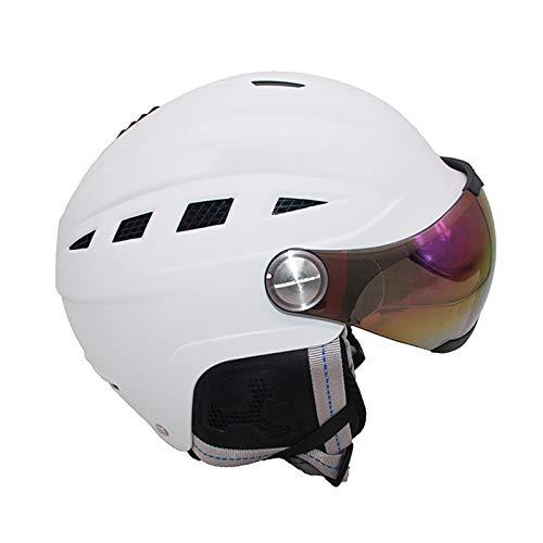 KingbeefLIU Gafas Protector De Cabeza Transpirable con Gafas Adulto CE-EN1077 Hombres Mujeres Casco De Esquí para Montar Blanco Metro