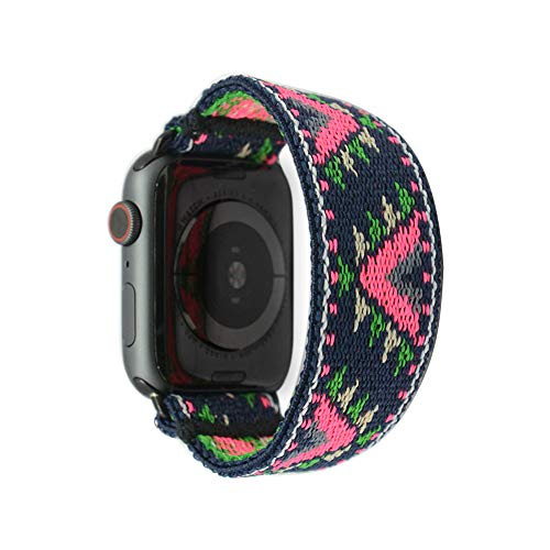 Tefeca Pink V Pattern Stretch Elastic Compatible/Replacement Band for Apple Watch 42mm/44mm (Black Adapters, XS fits Wrist Size : 5.5-6.0 inch)