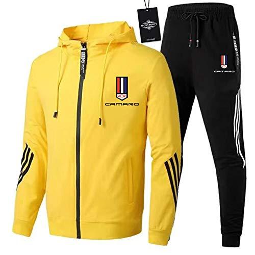 SPONYBORTY Herren Trainingsanzug Jogging Anzug Cam-aro Sportanzug Kapuzen Zip Jacke + Hose Mantel/Gelb/XL sponyborty
