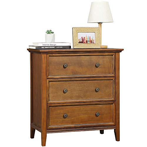 DICTAC Kommode mit 3 Schubladen, Kommode Vintage aus Massivholz, Organisator für Lagerturmkleidung, für großen Schrank, Schlafzimmer, Wohnzimmer (Vintage)
