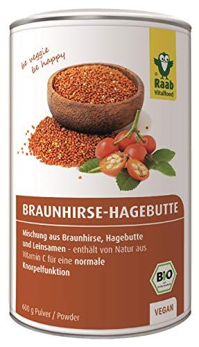 Raab Vitalfood Bio Braunhirse-Hagebutte Pulver-Mischung mit Leinsamen, Bio Braunhirse aus Österreich, Bio AP-4 Hagebutte, mit Kieselsäure, Calcium, Vitamin C, vegan, 600 g