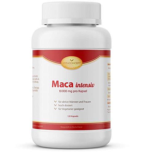 Maca intensiv * 10000 mg pro Kapsel * 120 Kapseln - erfüllt höchste Pharma-Qualitätskriterien - Made in Germany - für Vegetarier geeignet - VITACONCEPT
