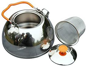 SUNRIS BRS Food Grade Stainless Steel Water Kettle Tea Pot for Outdoor Camping Hiking Picnic
