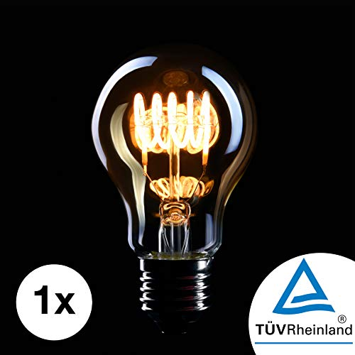 CROWN LED Edison Glühbirne E27 Fassung, Dimmbar, 4W, Warmweiß, 230V, EL03, Antike Filament Beleuchtung im Retro Vintage Look