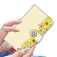 [bodenbaum] LG Style L-03K 手帳型 スマホケース カード スマホ ケース カバー ケータイ 携帯 LG エルジー エルジー スタイル docomo 花柄 フラワー デコ f-424-deco (B.イエロー)