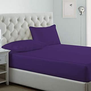 iBed Home Fitted Bedsheet Set of 3, Microfiber, King Size, Purple, MICROKNGPURP