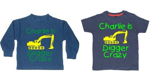 Coole-Fun-T-Shirts Ensemble t-shirt et sweat-shirt personnalisés Motif Digger Crazy avec nom Jaune et vert - Bleu - 3 ans
