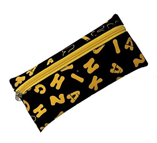 JINZHIKANG Pen Pencil Case Bag Pouch Adorable Letter Neoprene Design Multi-Functional Stationery Pouch