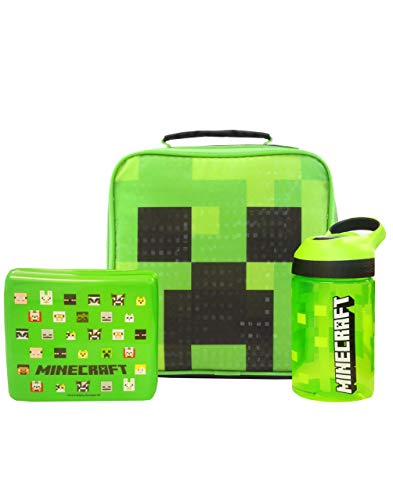 Minecraft Creeper Face Lunch Bag Set (Lunch Bag, Water bottle, Snack Pot)