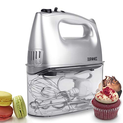 Duronic HM4SR Electric Hand Mixer Set 400W - 2 Beaters | 2 Hooks | 1 Whisk - Baking - Storage Case Stand Silver 5 Speed Turbo Function
