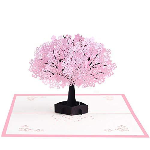 Weilifang Bella 3D Pop up di Carta da Regalo Cartoline di Natale Cartoline di Auguri Carte Regalo Vintage a Mano Cherry Blossom Carte Albero