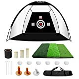 VANCL Golf Practice Net 10x6x6.7ft Golf Hitting Net with Upgraded Enlarged 25x25IN Hitting Mat and Free Accessories, Carry Bag, Ideal for Indoor and Outdoor Training
