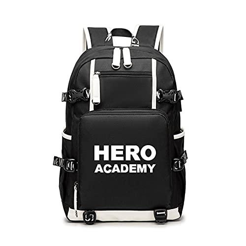 WWZY Unisex Bolsa de Escuela con Porta USB Anime My Hero Academia Estampado Backpack Mochila Bolsa de Viaje Rucksack School Bag Daypack Knapsack Bolsa para portátil,A
