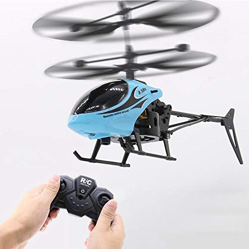 CYC Giocattoli telecomandati, Giocattoli Natalizi, elicotteri a induzione a infrarossi e Giocattoli Lampeggianti per aeroplani, Giocattoli per Bambini,Blu