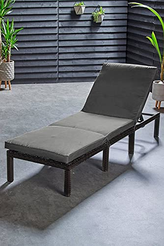Garden Mile Reclining Rattan Sun Lounger Day Bed Garden Furniture Outdoor Seating Lounging Seat Lounge Chair Grey Cushioned Sun Tanning Bed 4 Reclining Positions