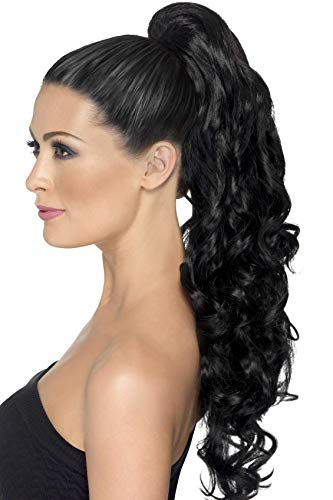 Smiffys Divinity Hair Extension Curl, Black, One Size
